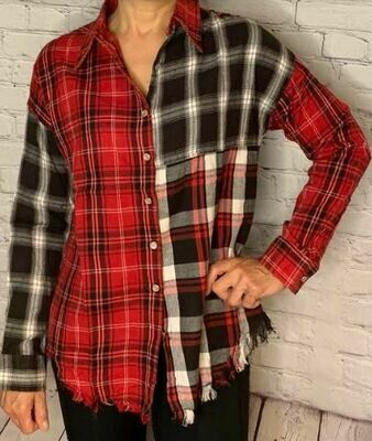 Angie red/bk plaid shirt