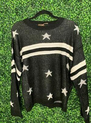 Pol bk/wh star sweater
