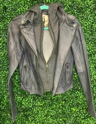 JKT leather hoody bk/char