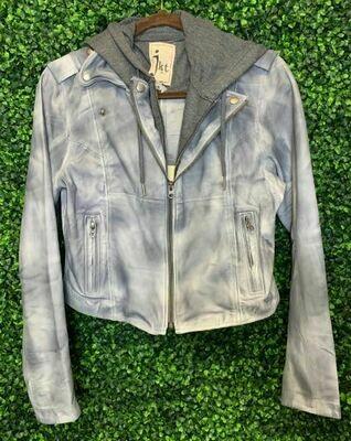 JKT leather hoody steel/char