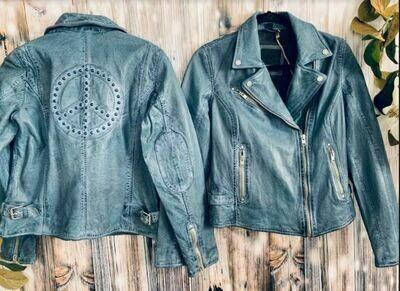 Mauritus blue peace sign leather