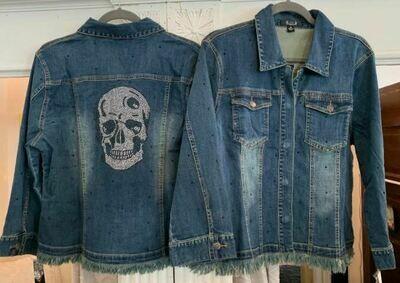 AZI denim blue skull jacket
