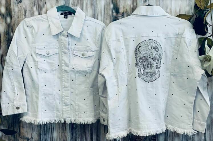 AZI Denim white skull jacket