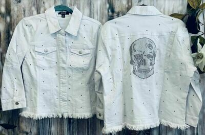 AZI Denim white skull jacket
