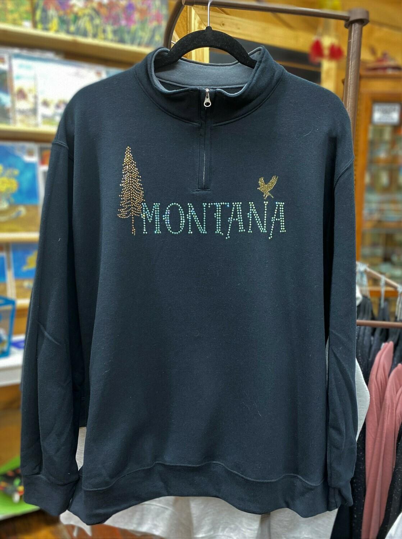 Softspun 1/4 zip Sweatshirt  Black w/MT and Tree