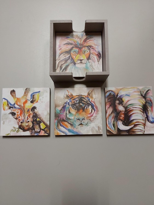 Wood Coaster Set - Safari Animals