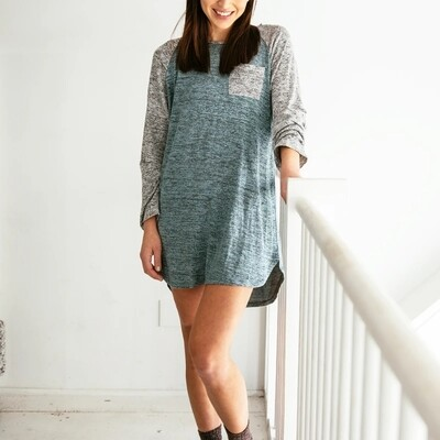 Hello Mello Carefree Threads Sleep Shirt | Grey/Mint
