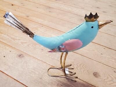 Teal Bird Garden Stake