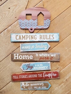 Camping Rules Hanging Sign