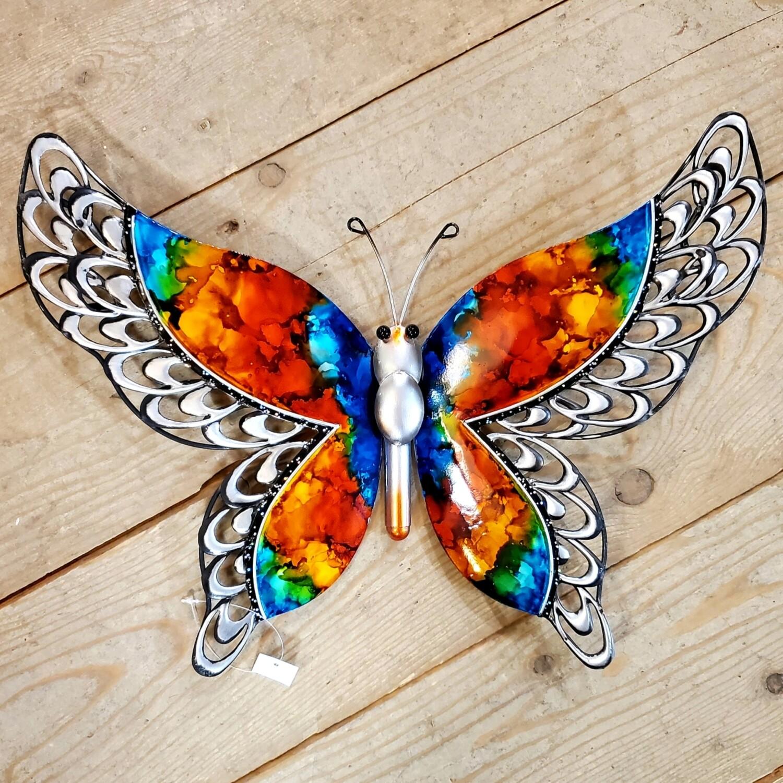 Metal Butterfly Wall/Garden Art - Rainbow