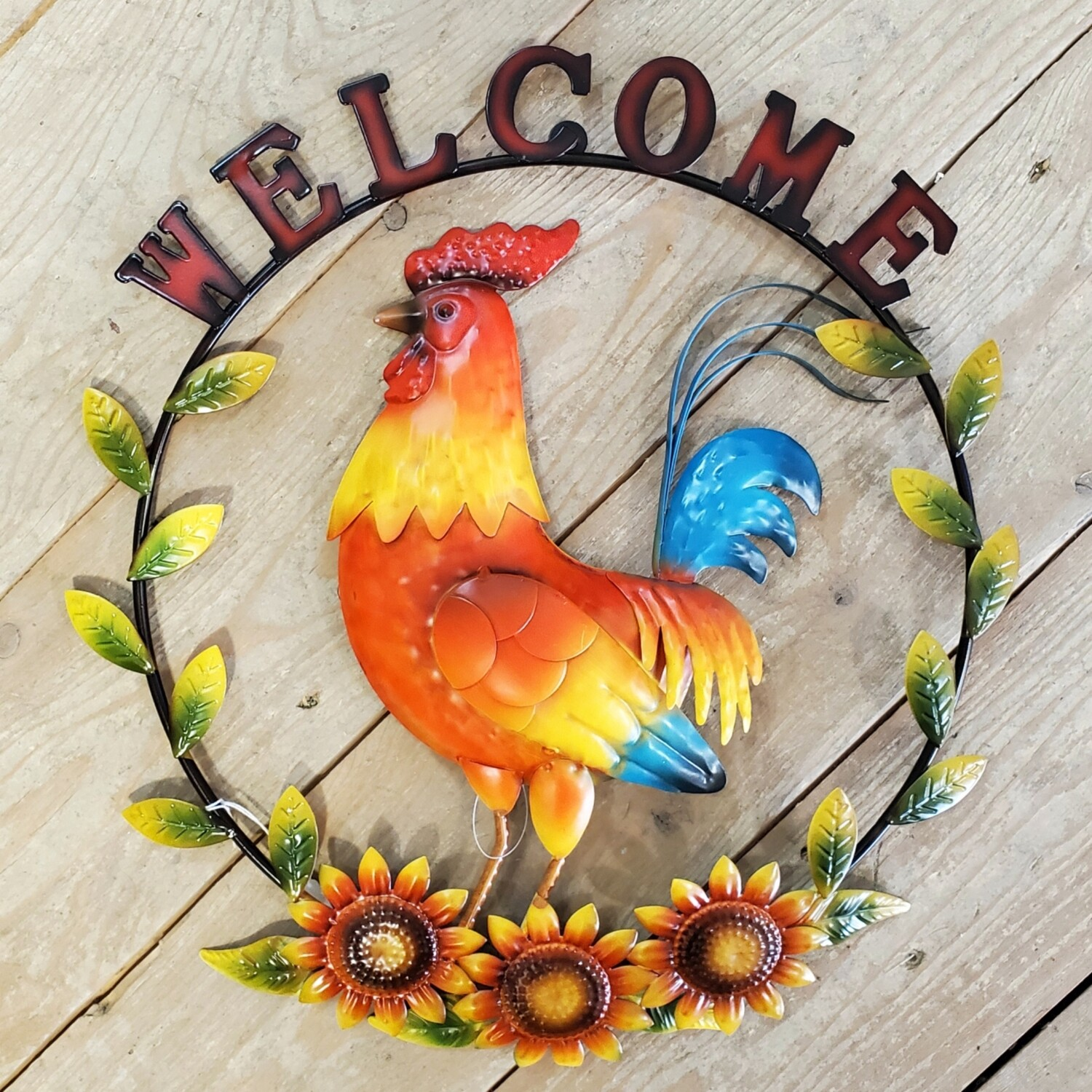 Metal Rooster Welcome Sign
