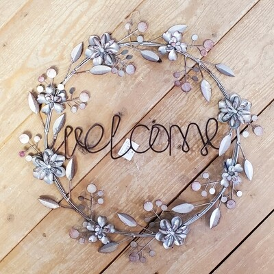 Round Metal Welcome Sign