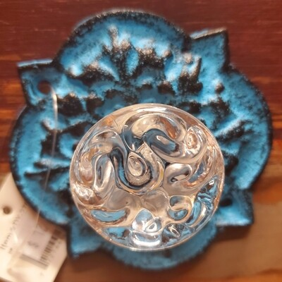 Acrylic Knob with Antique Blue Back Plate