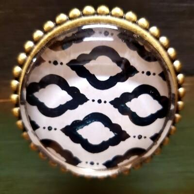 Acrylic Patterned Knob with Brass Back