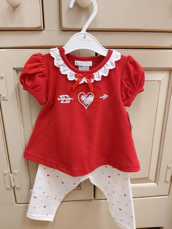 Red Heart Top w White Leggings