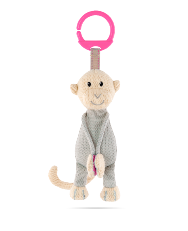 Matchstick Monkey Knitted Hanging Monkey - Pink