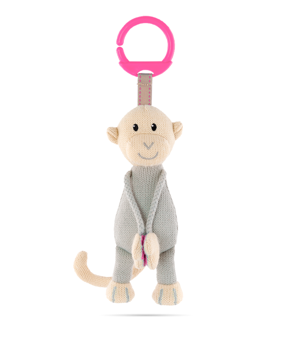 Matchstick Monkey Knitted Hanging Monkey - Pink