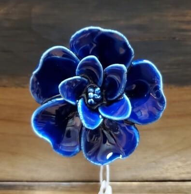 Dark Blue Porcelain Flower Knob