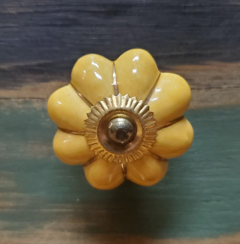Golden Yellow w Brass Trim Knob