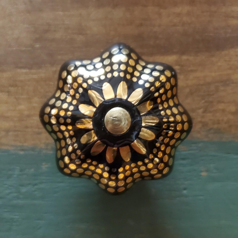 Black & Gold Porcelain Knob