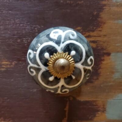 Charcoal w Ivory Porcelain w Brass Knob