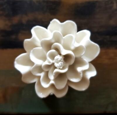 White Porcelain Flower Knob