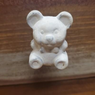 Teddy Bear White Cast Iron Knob