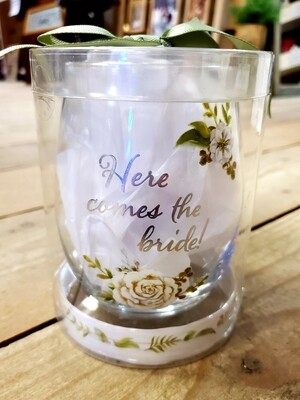 Here Comes the Bride - Stemless Wine Glass