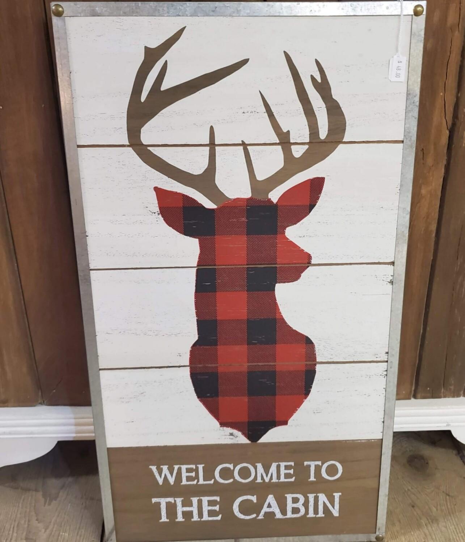 Plaid Cabin Sign