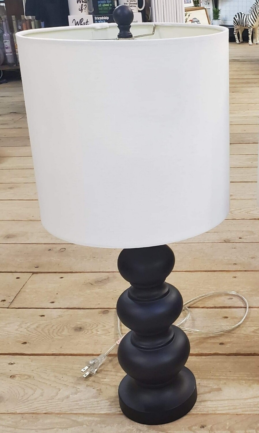 Black/White Wood Table Lamp
