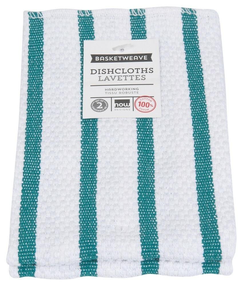 Now Designs Basketweave Dishcloths Set of 2 - Peacock