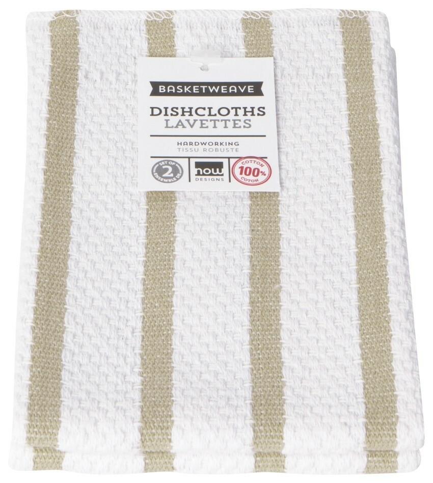 Now Designs Basketweave Dishcloths Set of 2 - Sandstone