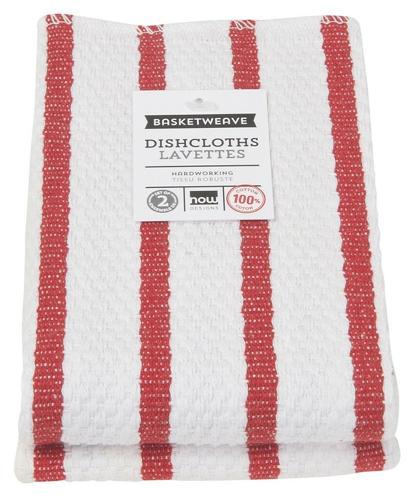 Now Designs Basketweave Dishcloths Set of 2 - Red