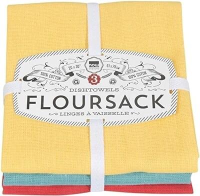 Now Designs Floursack Dishtowels (Set of 3) - Lemon/Turquoise/Grenadine