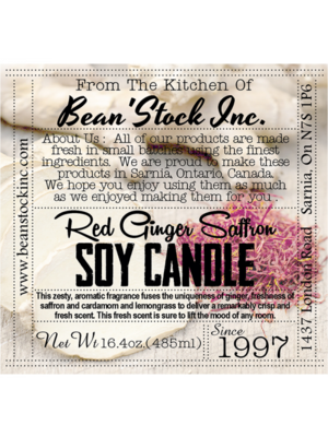Bean'Stock Soy Candle | Red Ginger Saffron