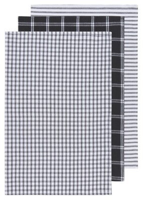 Now Designs Dishtowels Tic Tac Toe (Set of 3)   Black