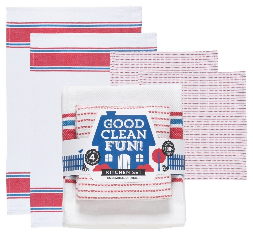 Now Designs Kitchen Set | Good Clean Fun Red/Blue (4pc)