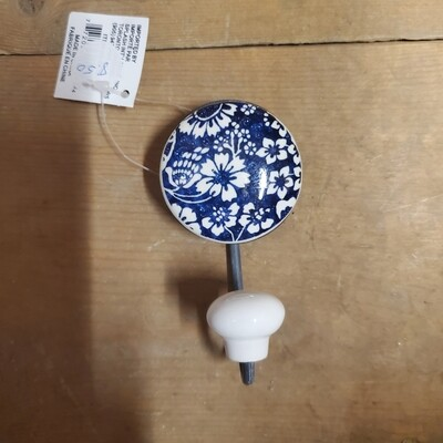 Floral Porcelain and Metal Hook