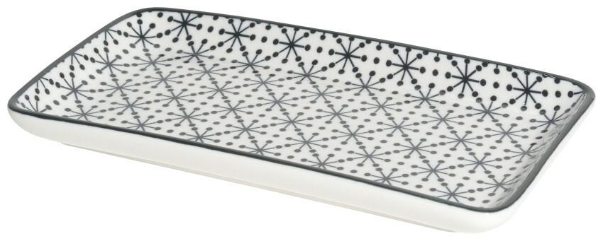 Now Designs Stamped Plate   8in. Black Geo