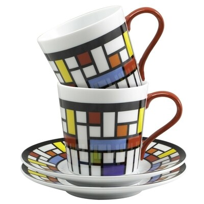 Mosaic Cappuccino Cups & Saucers