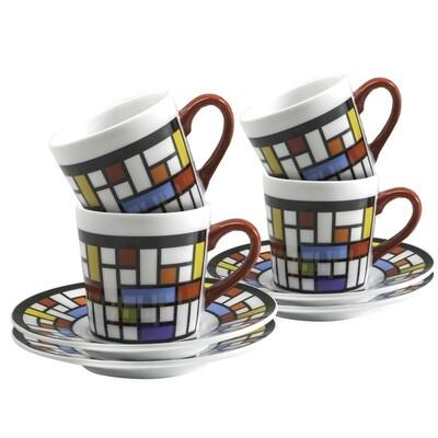 Mosaic Espresso Cups & Saucers