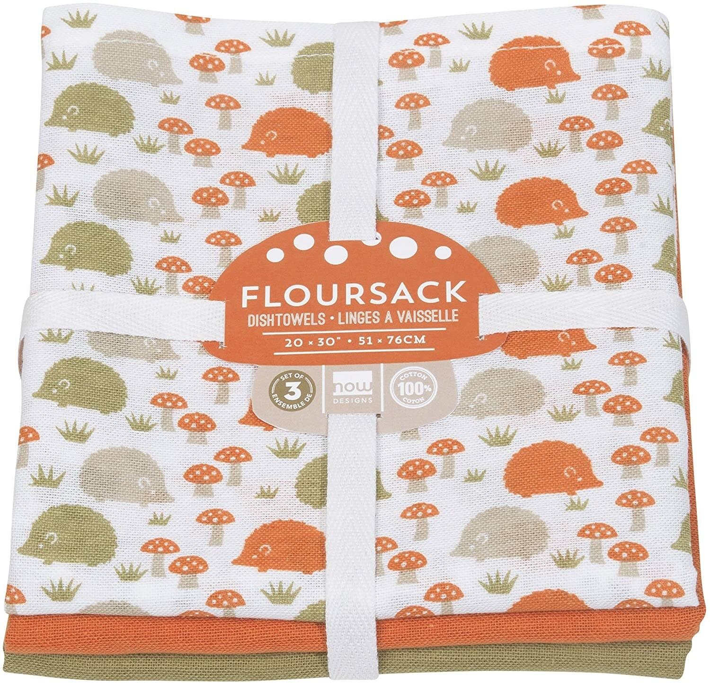 Now Designs Floursack Dishtowels (Set of 3) - Happy Hedgehog/Orange/Green