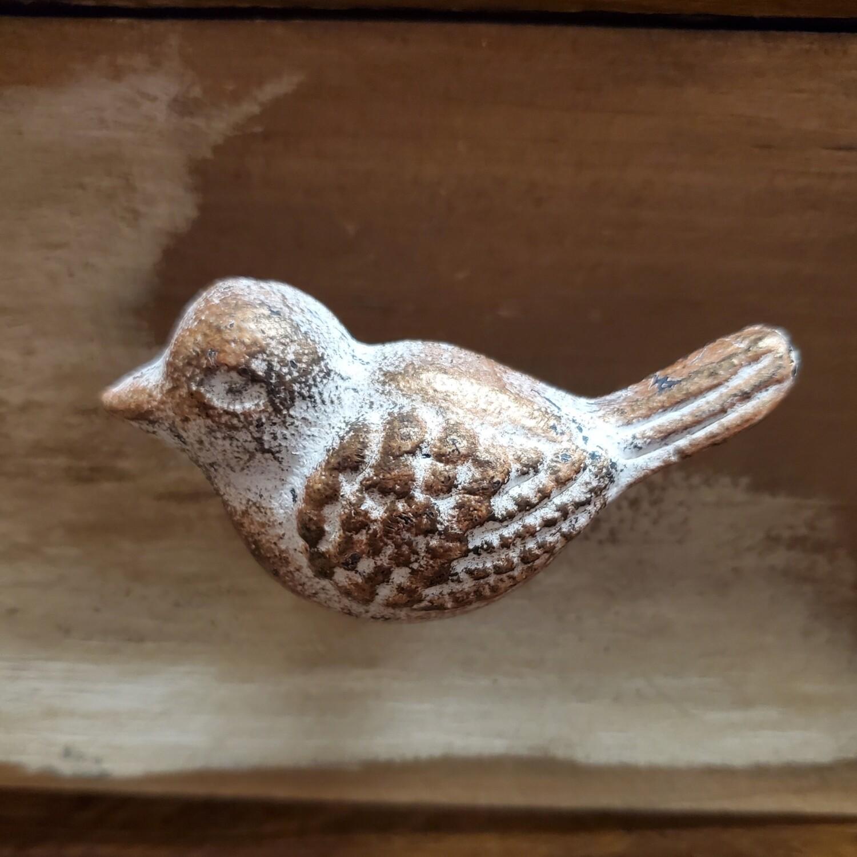 Antiqued White/Copper Cast Iron Bird Knob