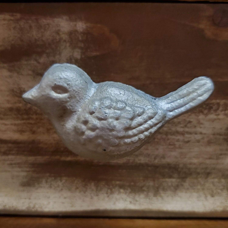 Antiqued Silver Cast Iron Bird Knob