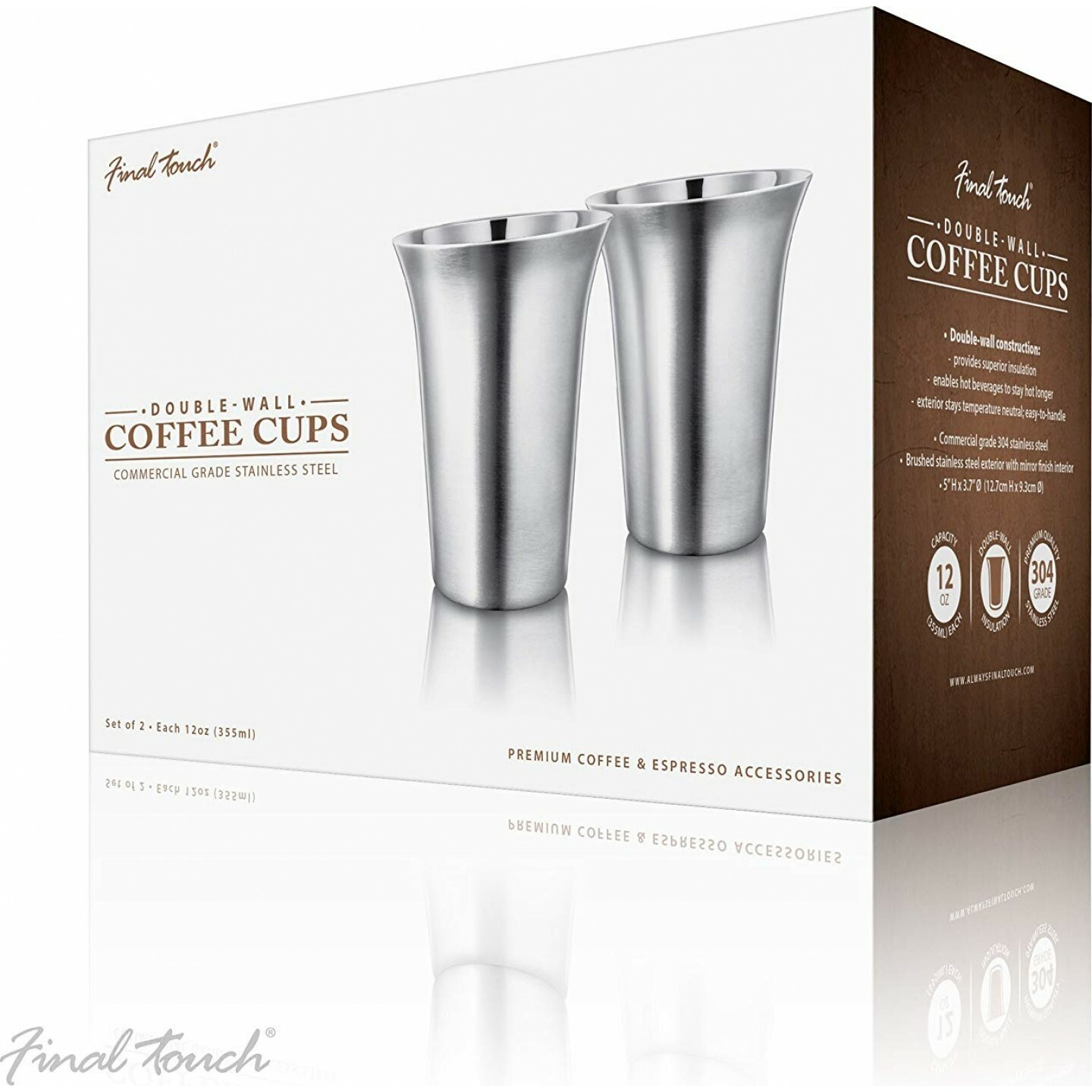 Final Touch | Double-Walled 12oz Stainless Steel Coffee Cups (Set of 2)