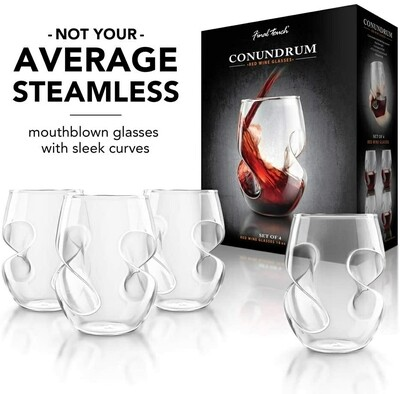 Final Touch   Conundrum Stemless Red Wine Glasses (Set of 4)