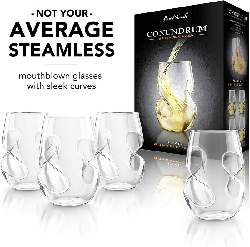 Final Touch | Conundrum Stemless White Wine Glasses (Set of 4)