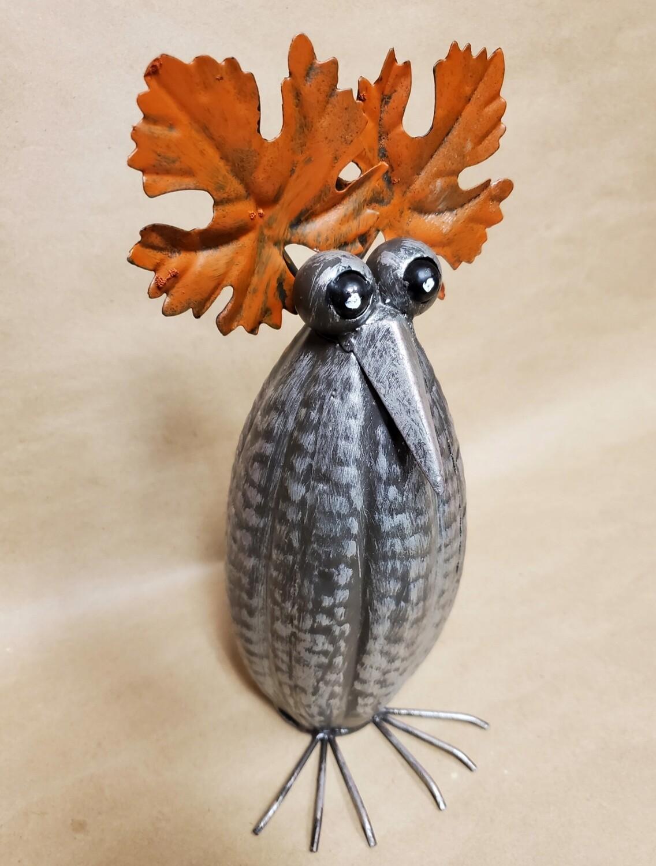 Metal Pumpkin Owl - Tall