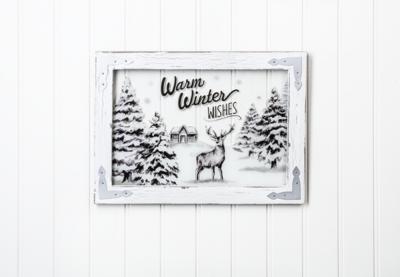 Warm Winter Wishes Window Plaque