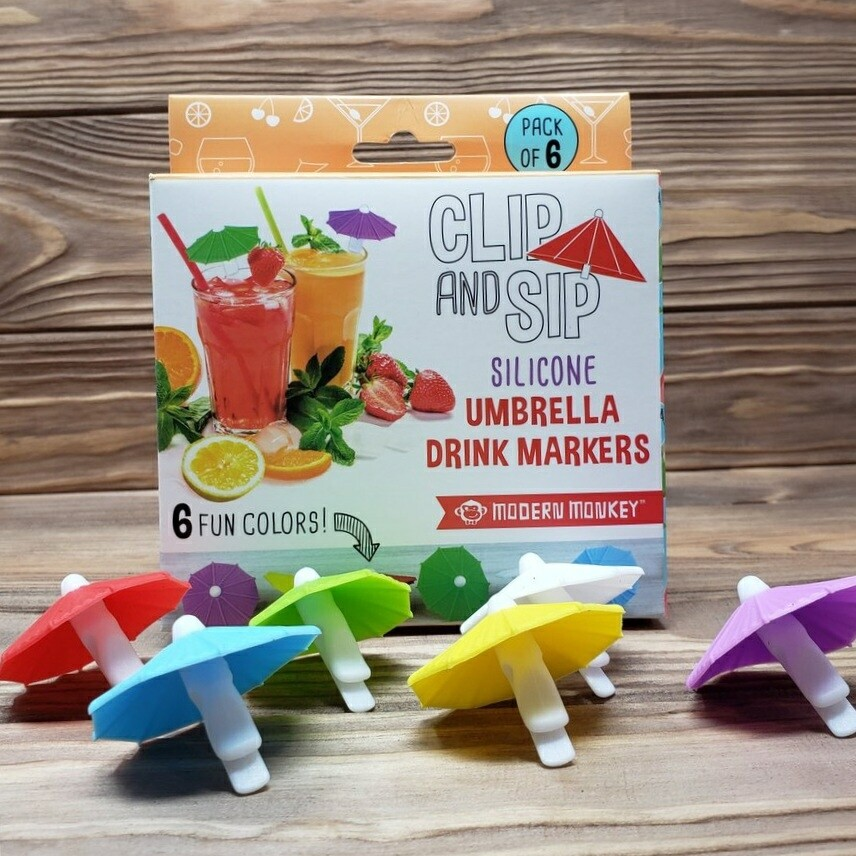 Reusable Silicone Umbrella Drink Markers (Pack of 6)